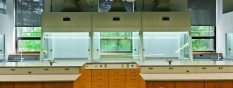 TruView Fume Hoods with Rift Cut Red Oak Cabinets
