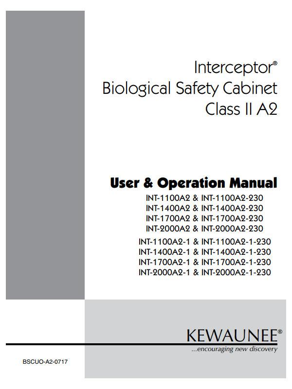 Kewaunee Interceptor Biological Safety Cabinet Class II A2 User Manual