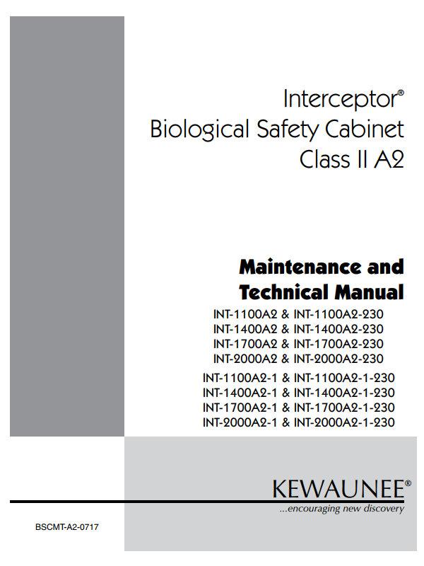 Kewaunee Interceptor Biological Safety Cabinet Class II A2 Tech Manual