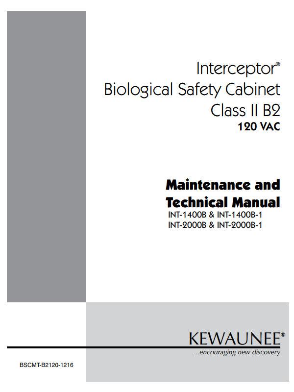 Kewaunee Interceptor Biological Safety Cabinet Class II B2 User Manual