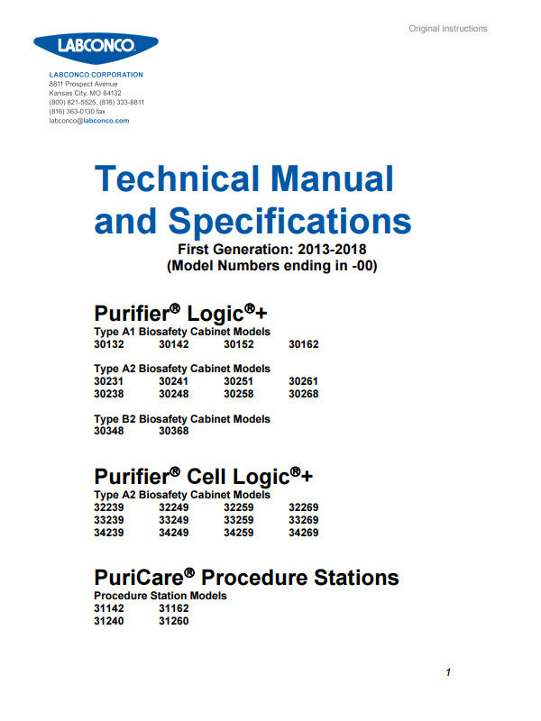 Labconco Technical Manual and Specs