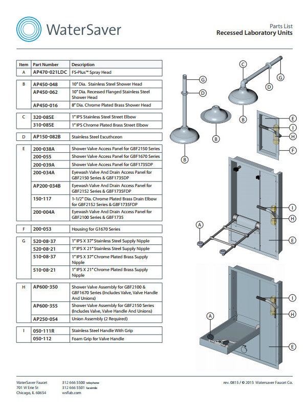 WaterSaver Recessed Laboratory Units Parts List
