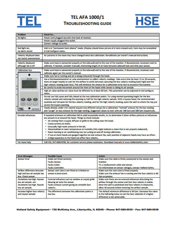 TEL 1000/1 Fume Hood Alarm Troubleshooting Guide