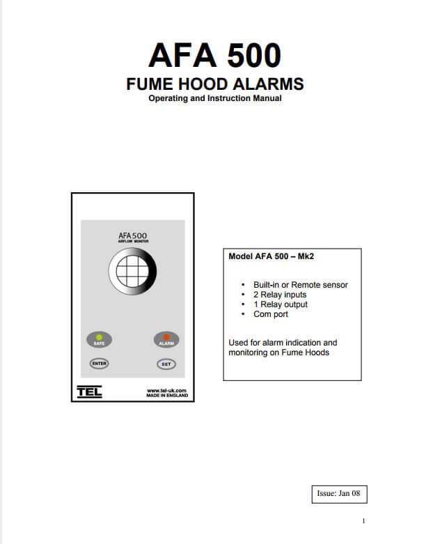 TEL 500 Fume Hood Alarm Manual