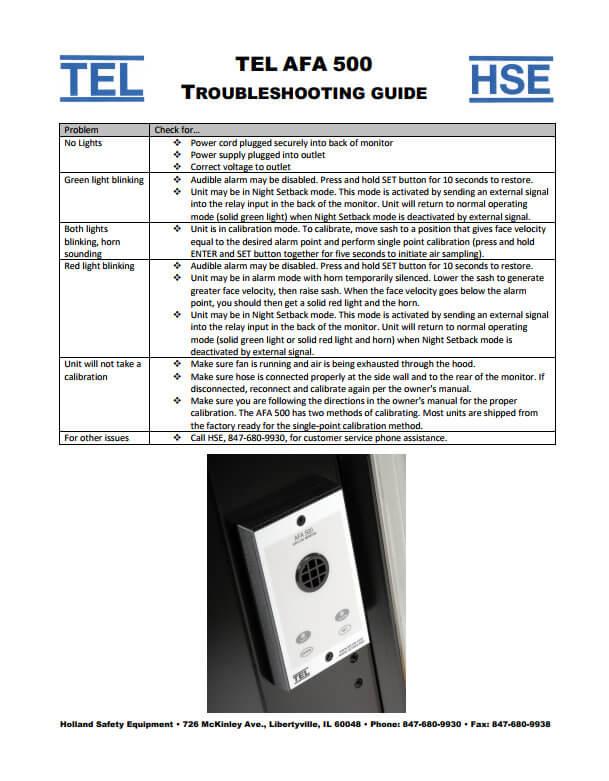 TEL 500 Fume Hood Alarm Troubleshooting Guide